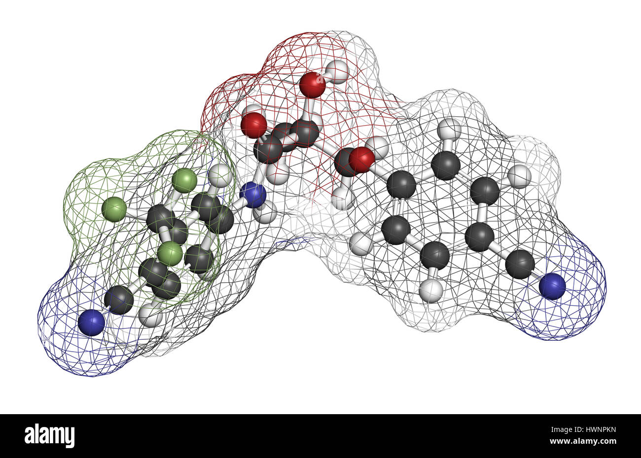 Enobosarm drug molecule. Selective androgen receptor modulator (SARM) that is also used in sports doping. 3D rendering. - Stock Image