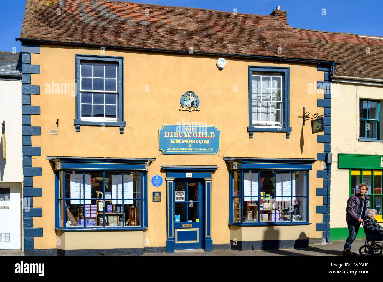 Views of Wincanton Town in somerset England UK. Cunning Artificer Discworld Shop - Stock Image