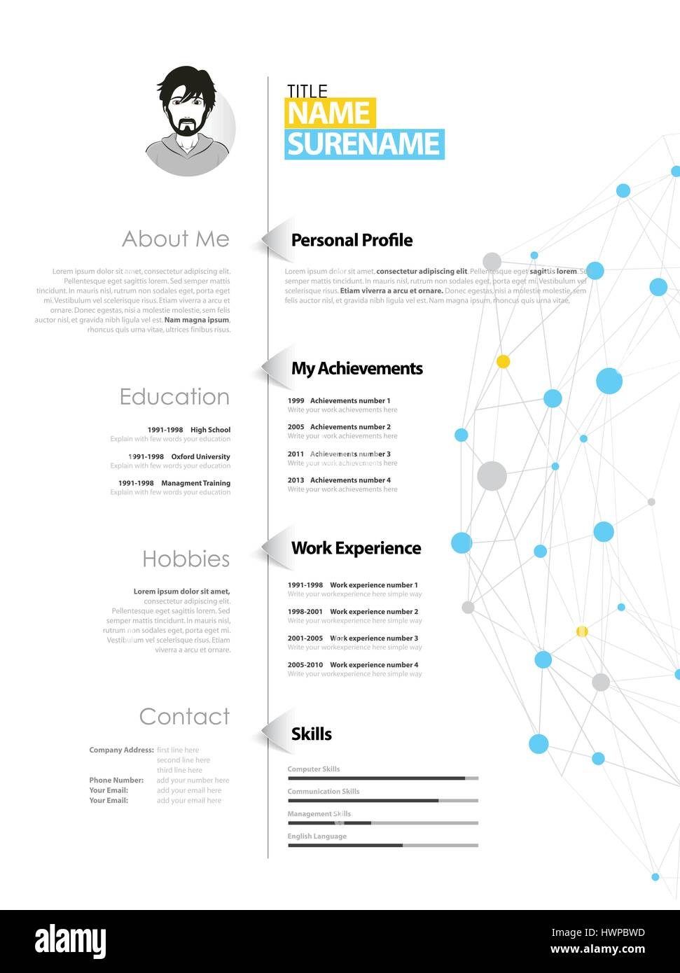creative simple cv template with blue and grey circles and dots on