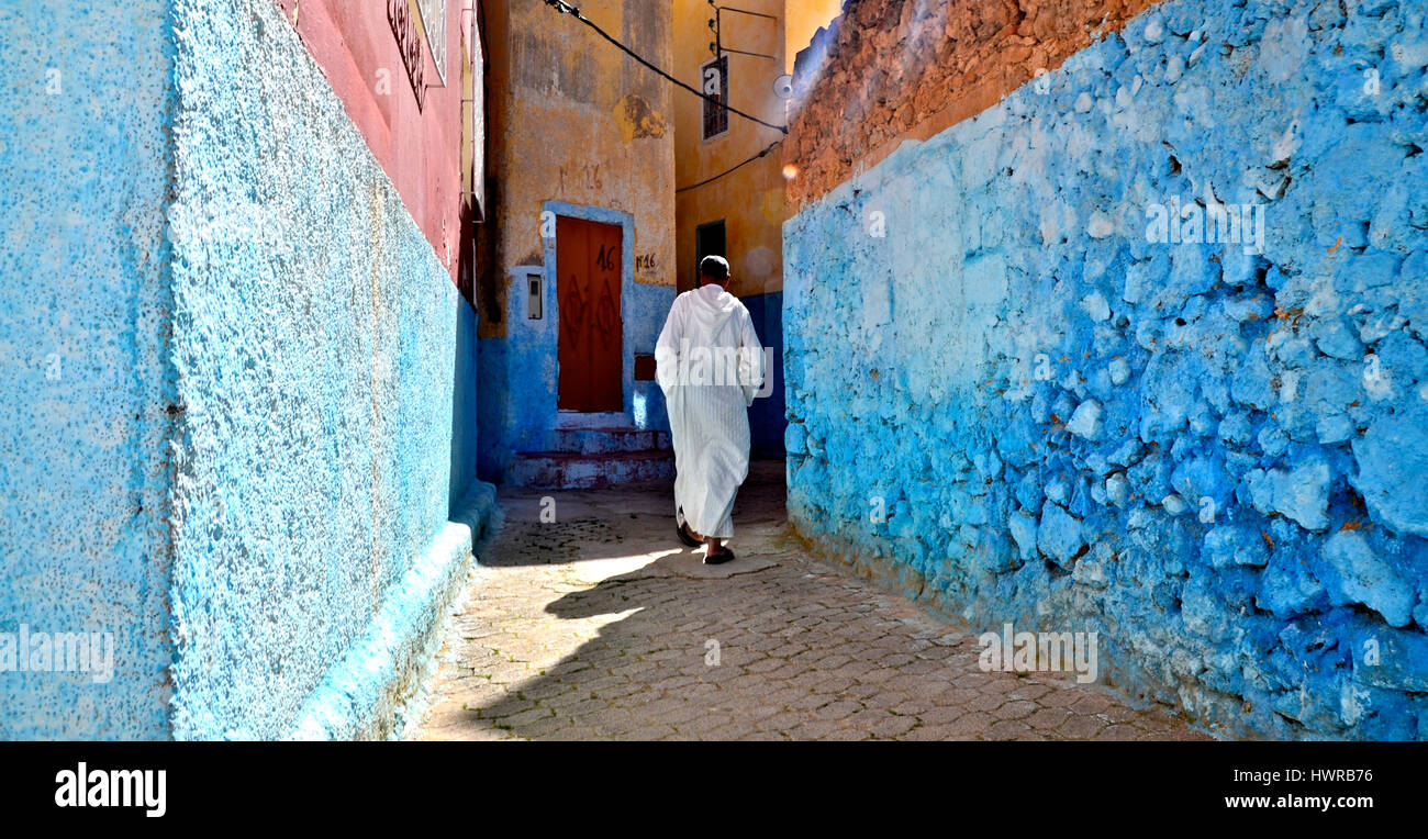 Mohamed in the back streets of Bhalil, Morocco, near Fez Stock Photo