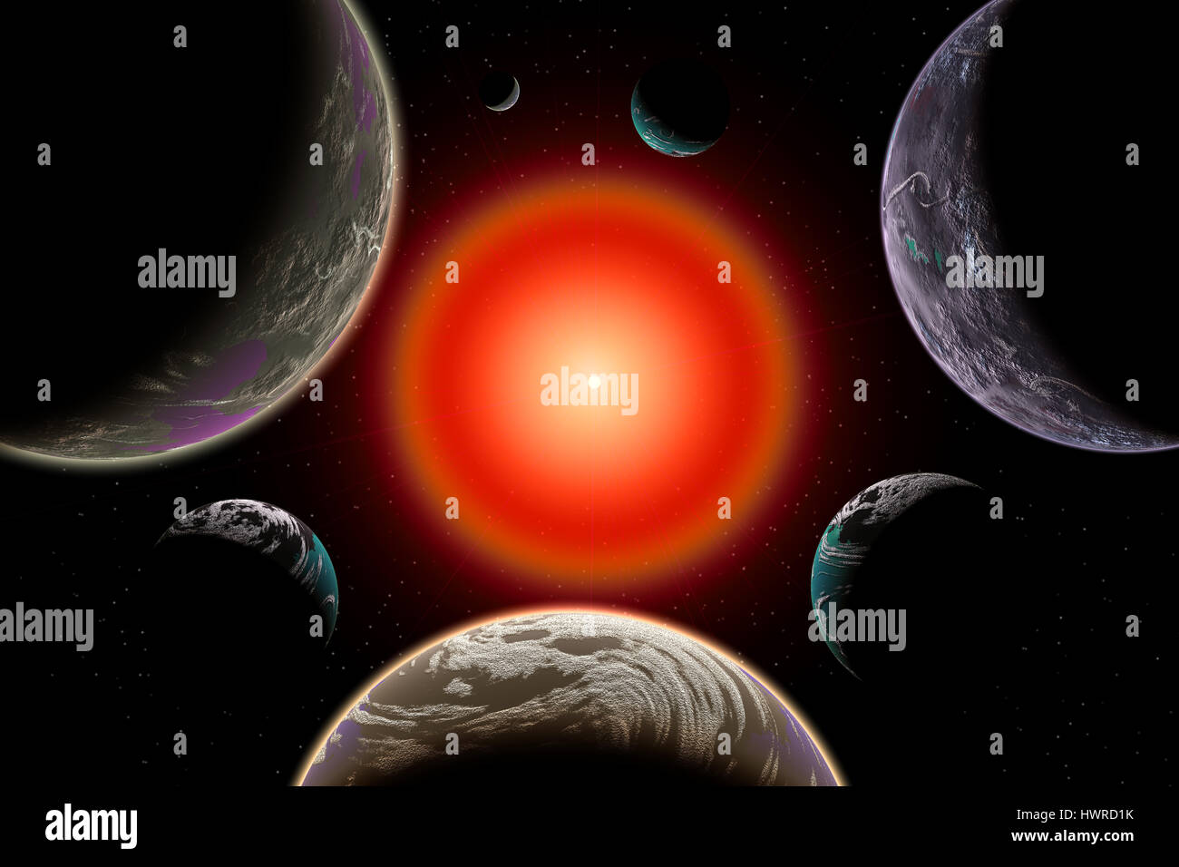 The Trappist Star System Consisting Of 7 Planets. - Stock Image