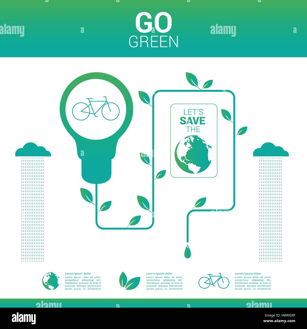 Go green environmentally friendly world - Stock Image