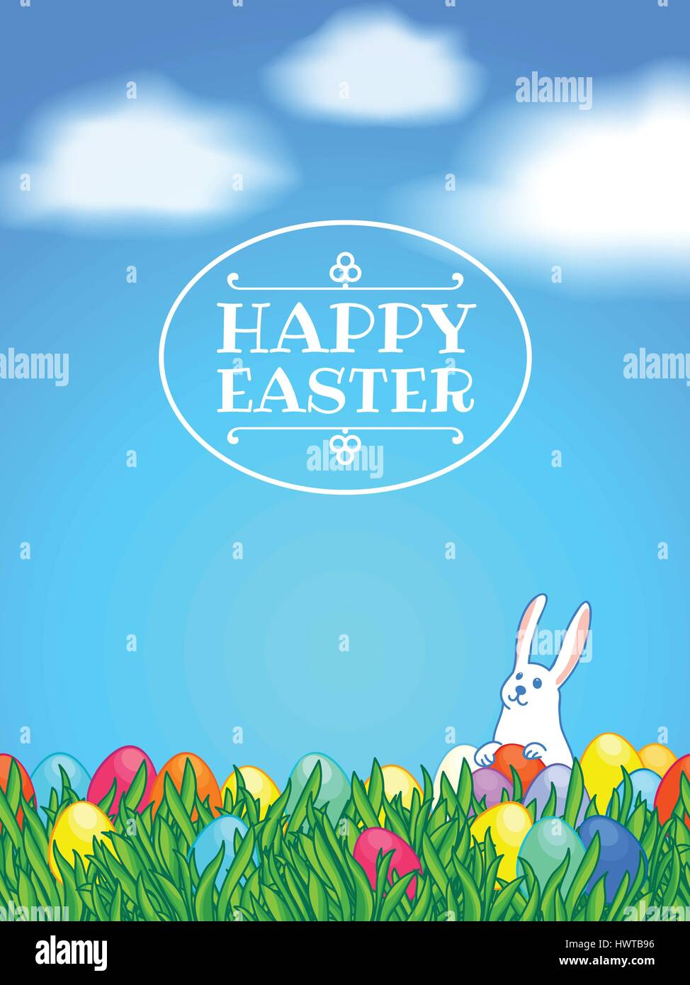Happy easter greeting or invitation card vertical template white happy easter greeting or invitation card vertical template white easter bunny with painted eggs and green grass background with clouds and blue sky m4hsunfo