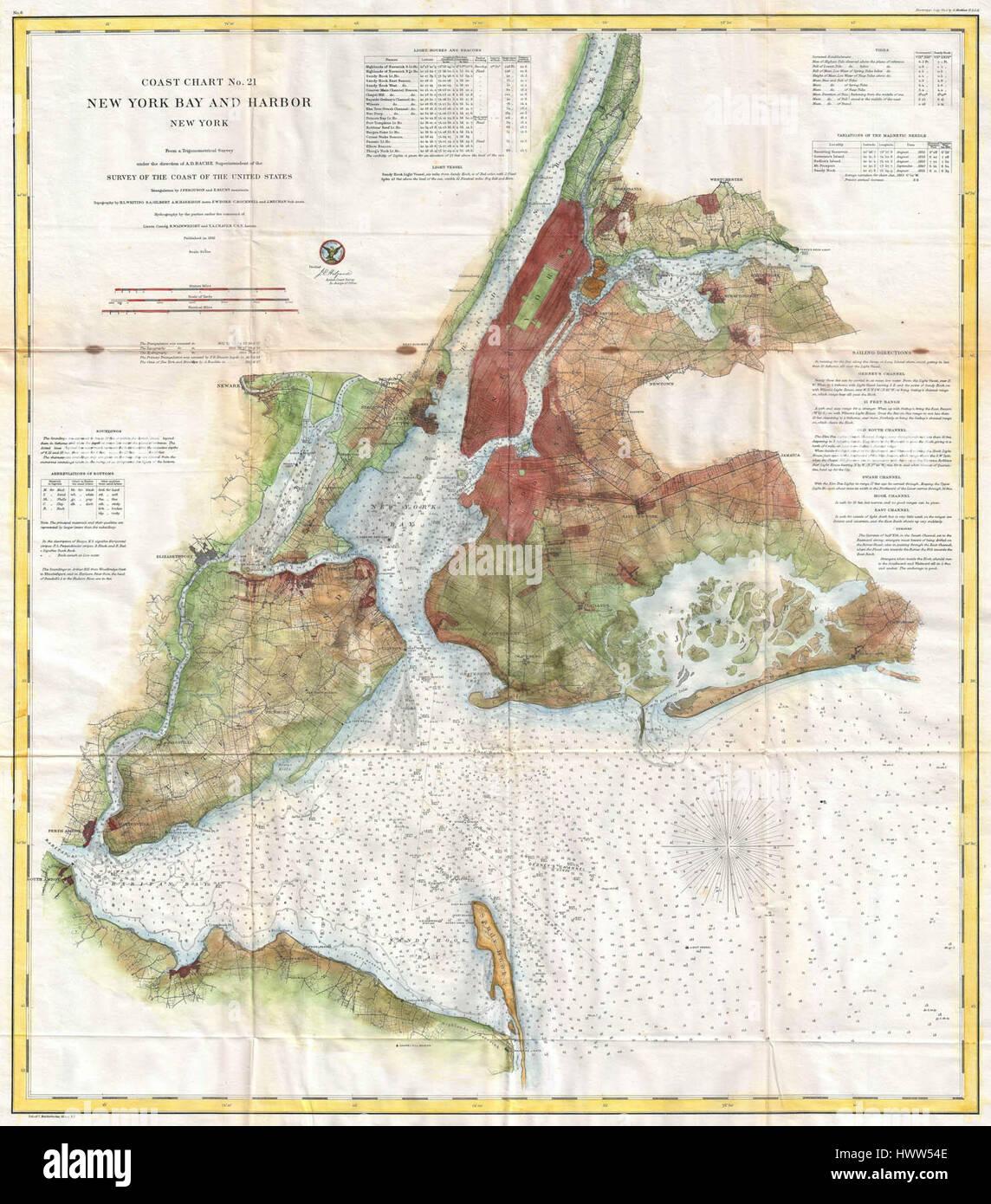 1861 U.S. Coast Survey Map of New York City Bay and Harbor Stock ...