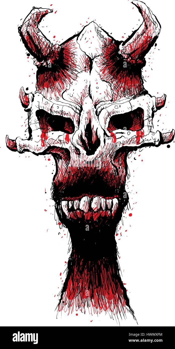 a spooky illustration of a demon skull with evil fangs and scary