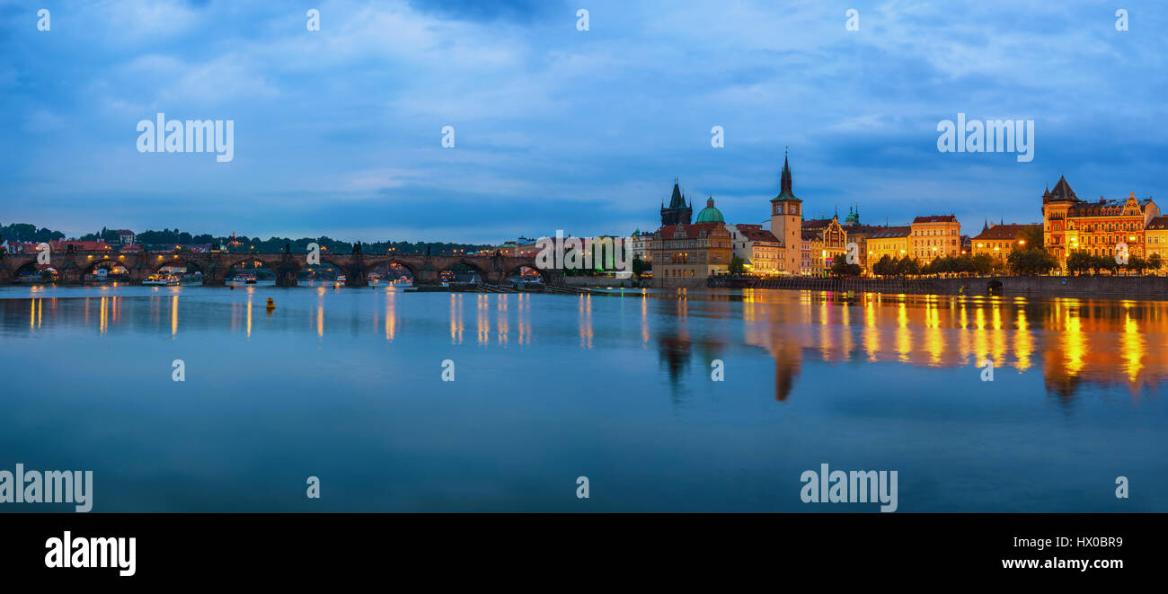 Prague city skyline panorama and Charles Bridge, Prague, Czech Republic - Stock Image