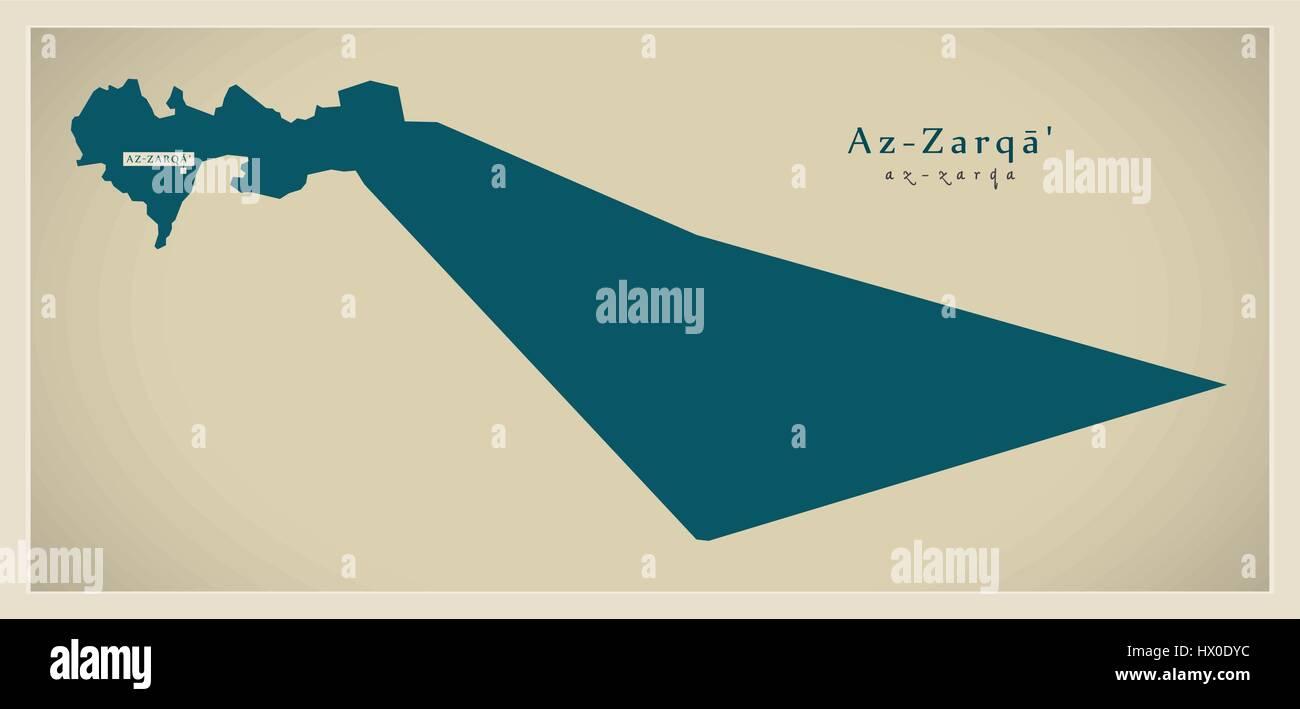 Modern Map AzZarqa JO Stock Vector Art Illustration Vector