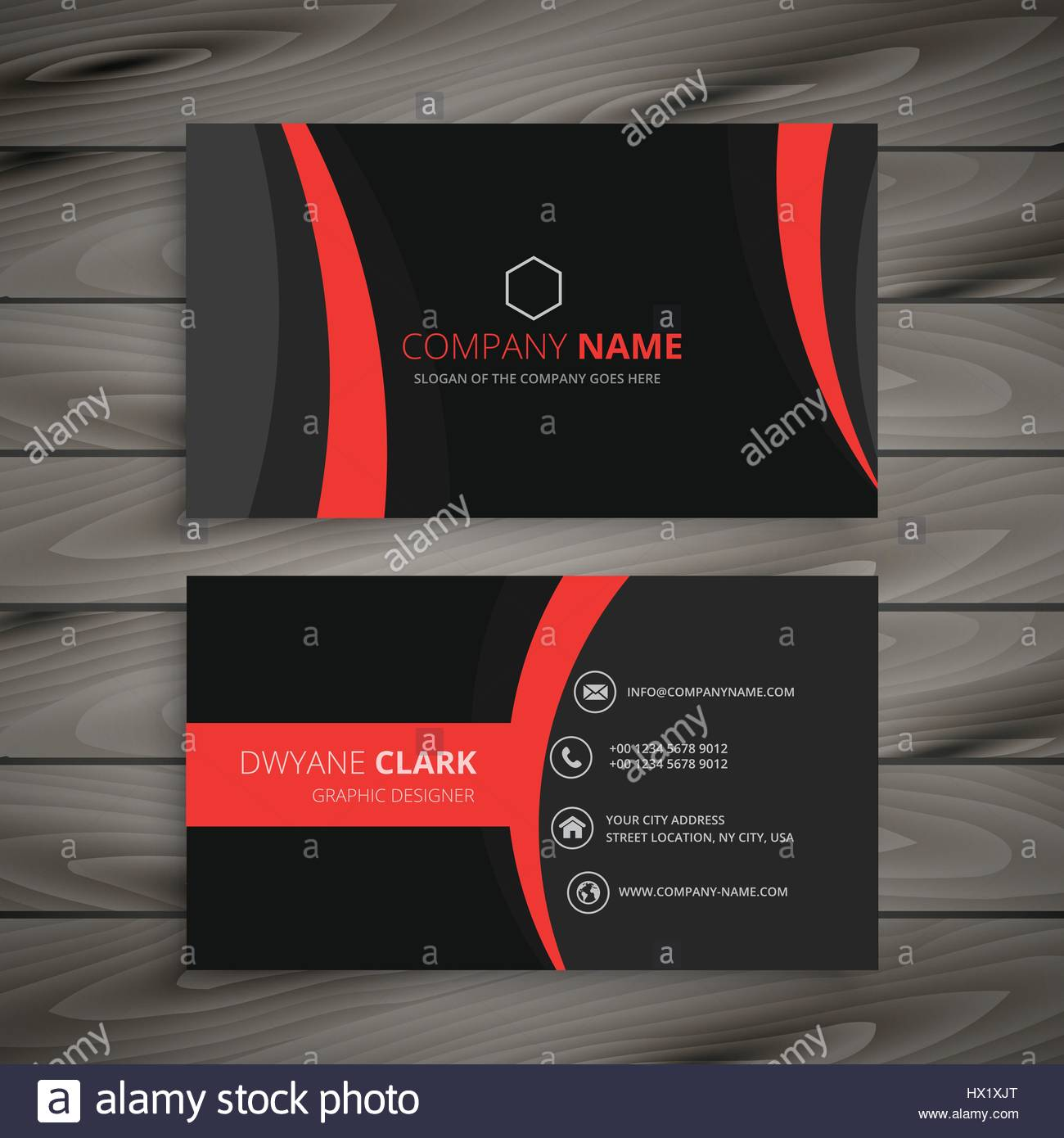 Dark modern red black business card template vector design stock dark modern red black business card template vector design illustration reheart Images