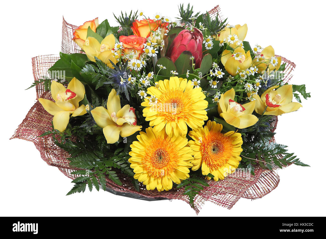 Flower Arrangement Large Mixed Floral Bouquet Of Yellow Gerberas