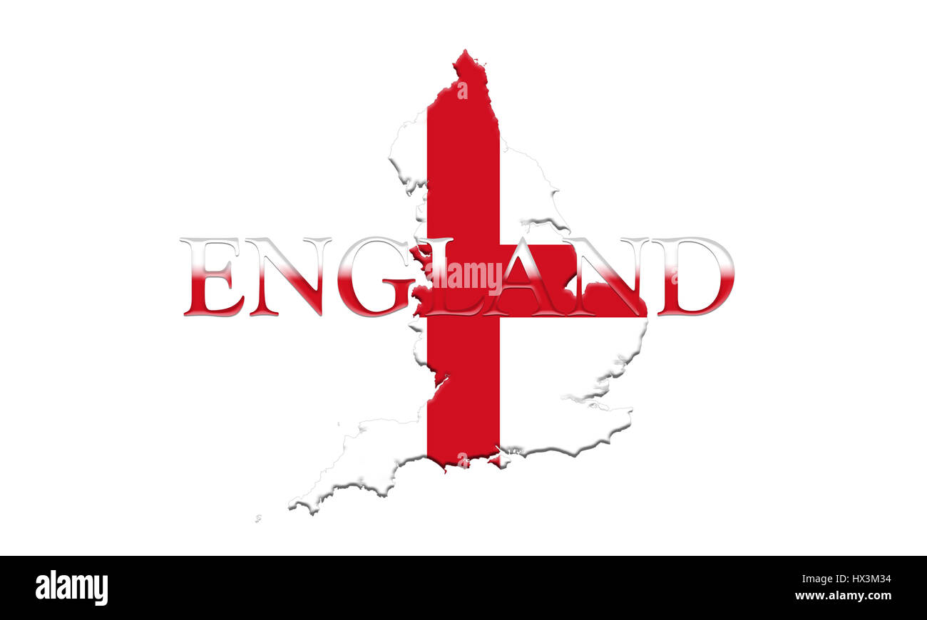 flag of england with map and country name on it on it 3d