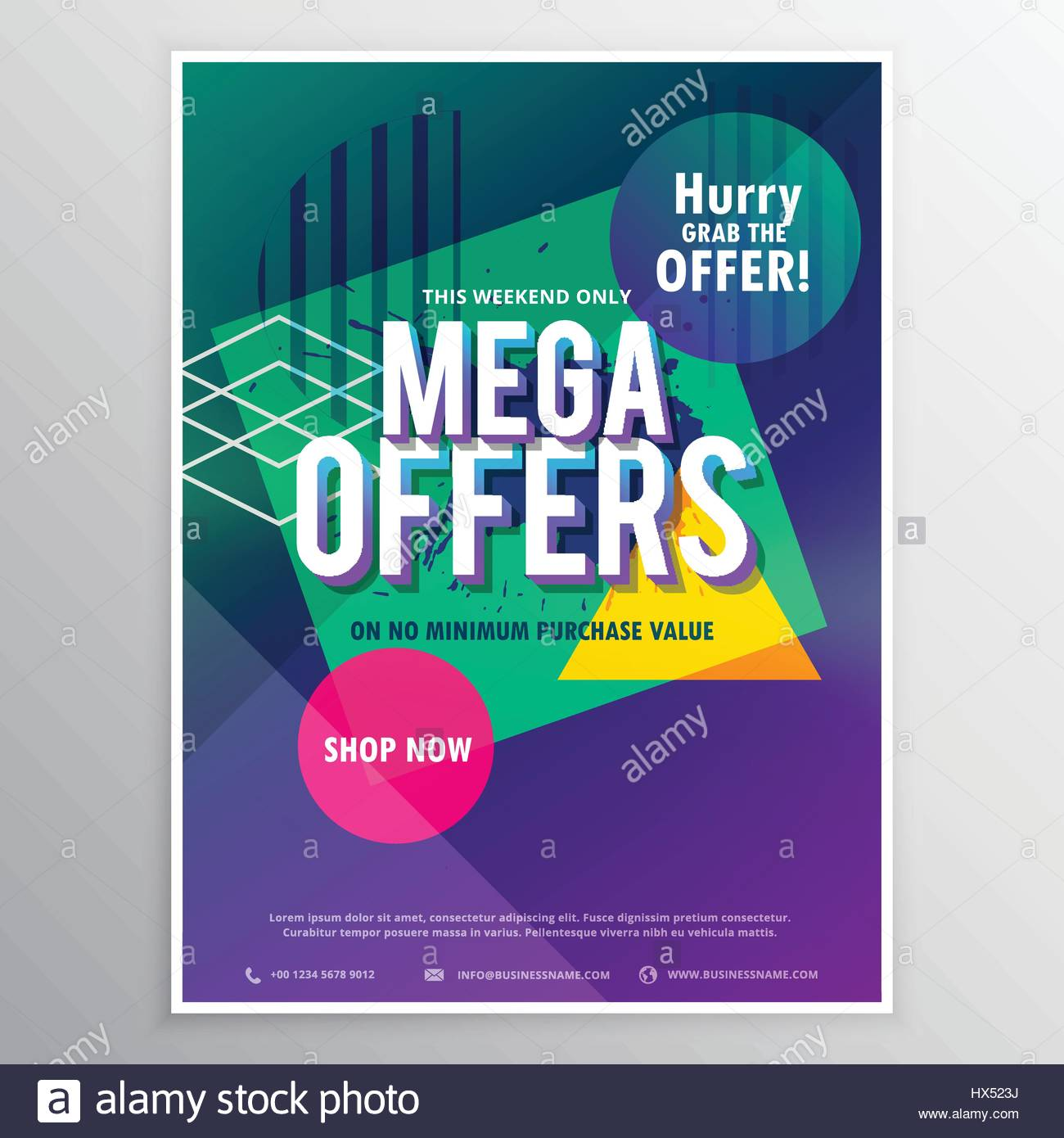 promotional mega sale brochure flyer template with abstract