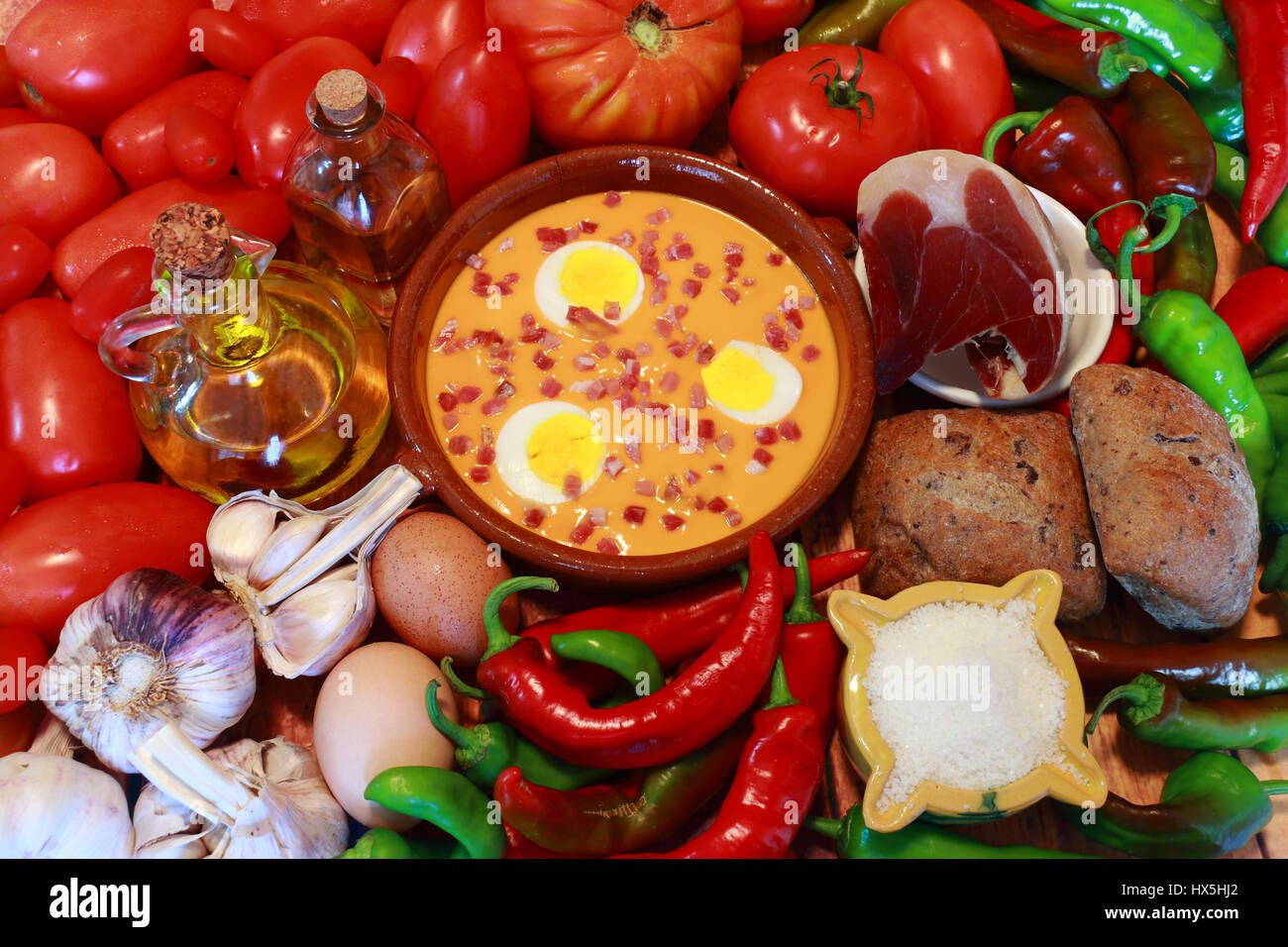 Salmorejo is a typical food of Andalusia, in southern Spain. Its ingredients are tomato, pepper, bread, garlic, - Stock Image