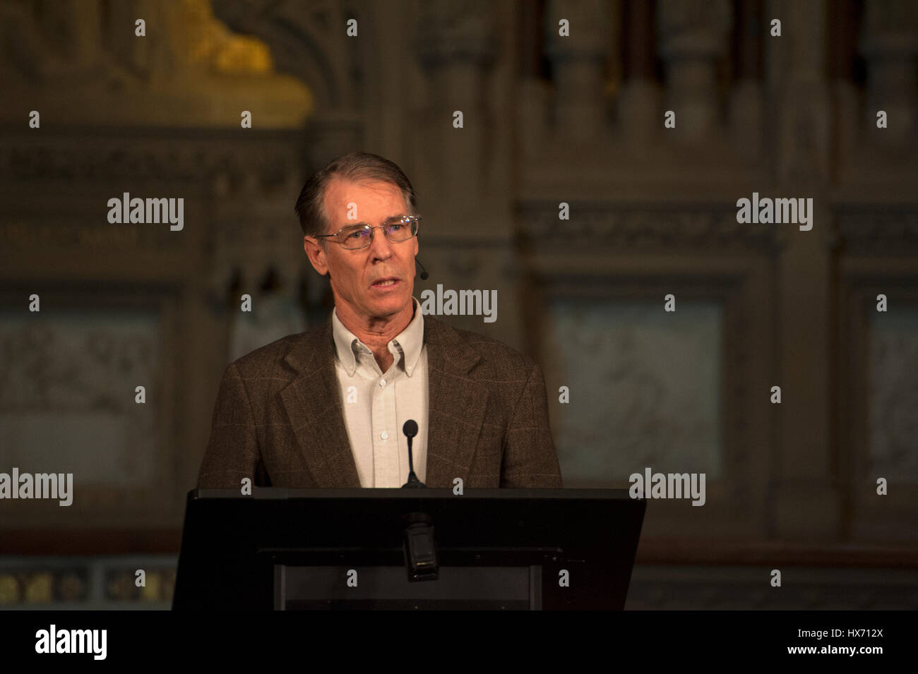 Kim Stanley Robinson, an award-winning writer of science fiction, talking at Trinity Church about his newest book,Stock Photo