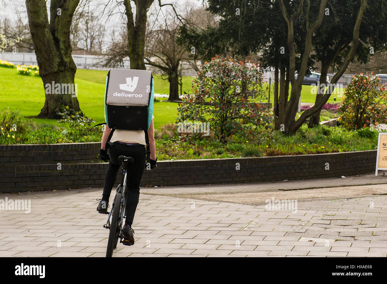 Deliveroo food delivery employee man riding a push bike with a food delivery box on his back. Stock Photo