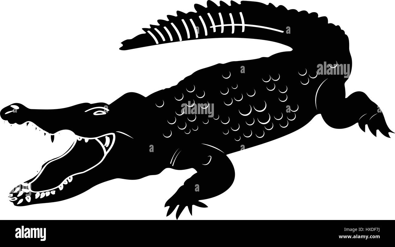Isolated crocodile silhouette Stock Vector Art ...