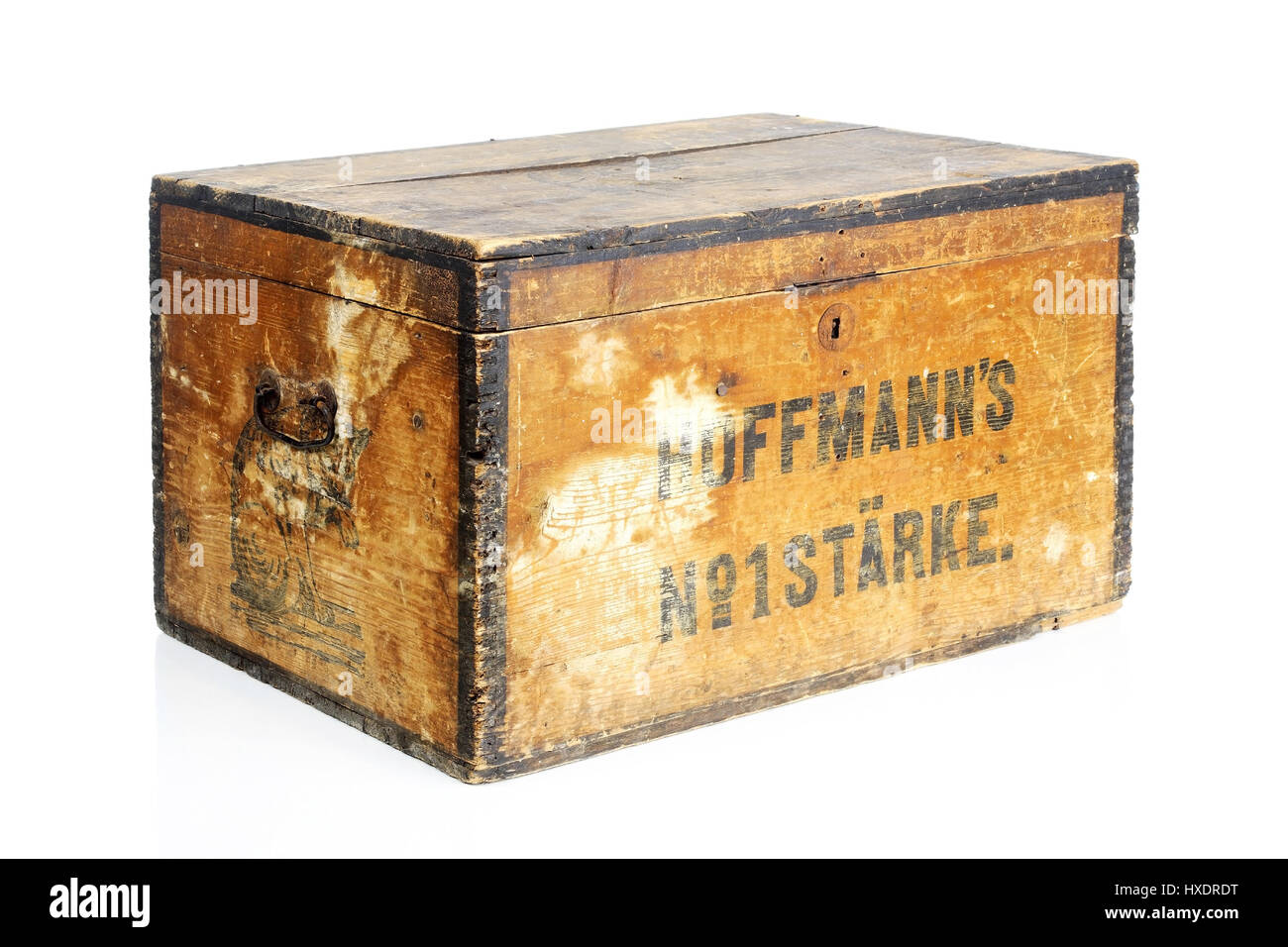 Alte Holzkisten wooden box with an advertising label wooden box with in