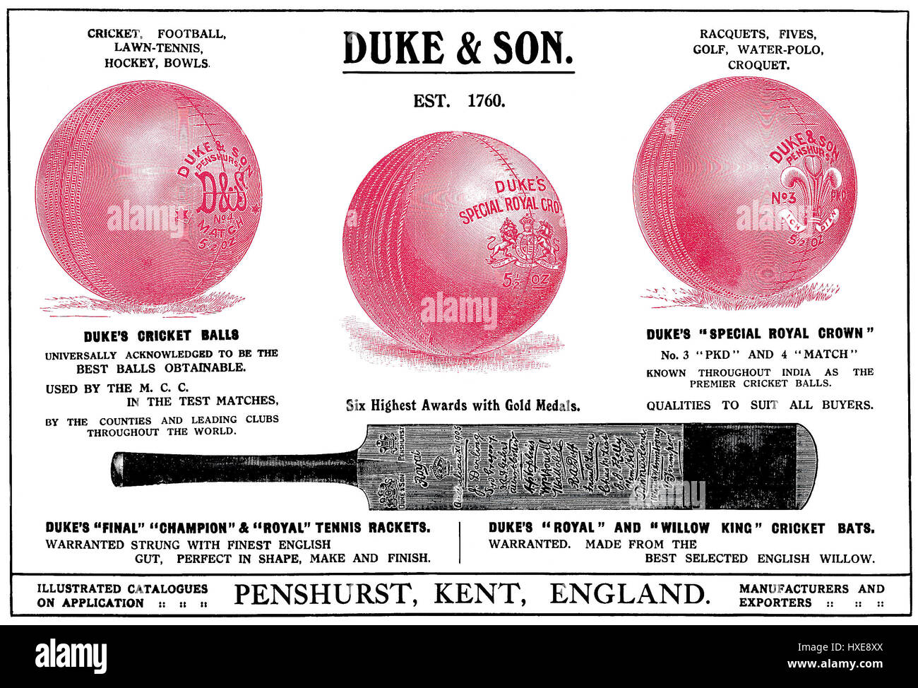 1922 Indian advertisement for Duke & Son sports equipment. Published in the Times Of India Annual, 1922. - Stock Image