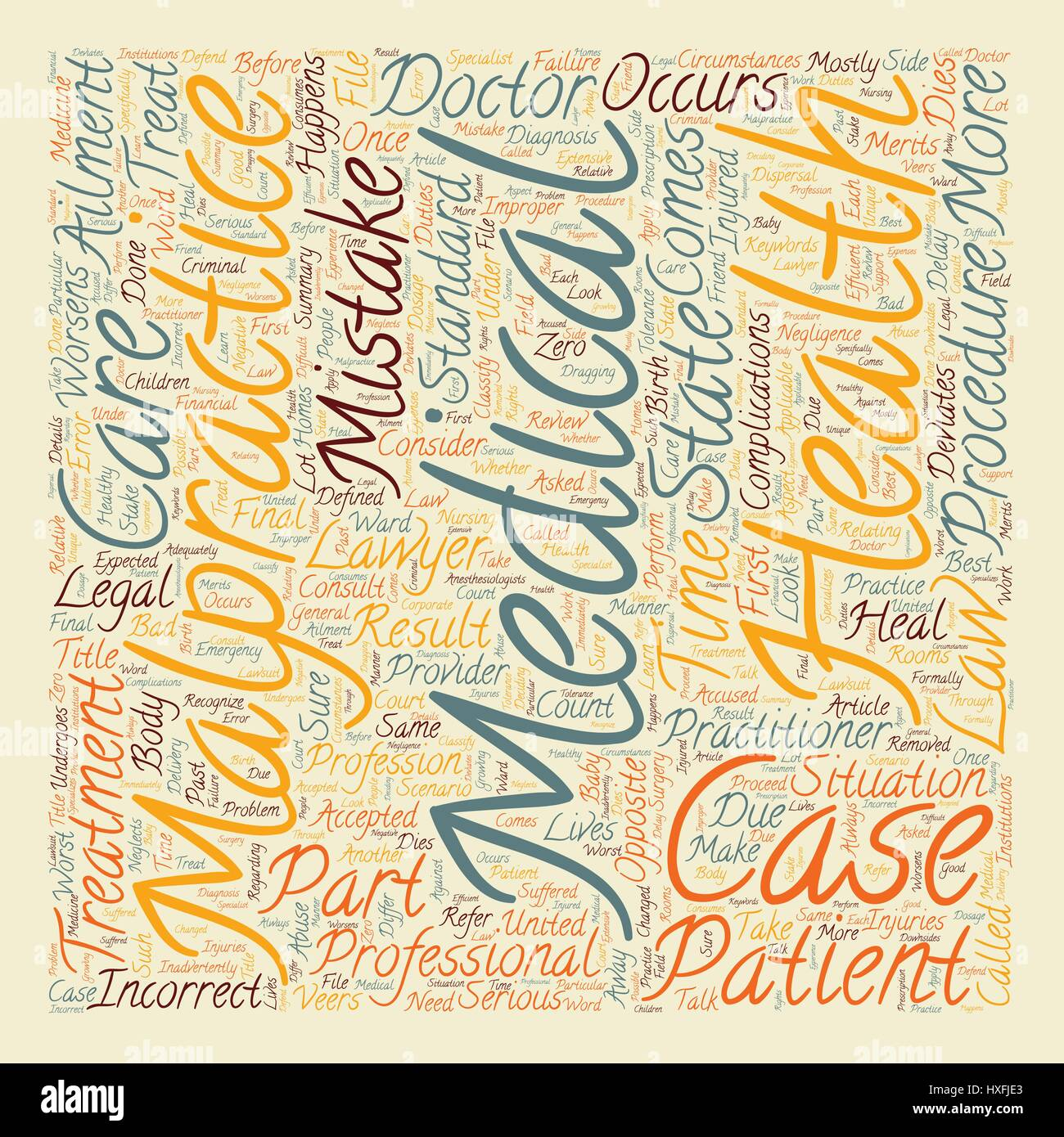 medical malpractice defined text background wordcloud concept stock
