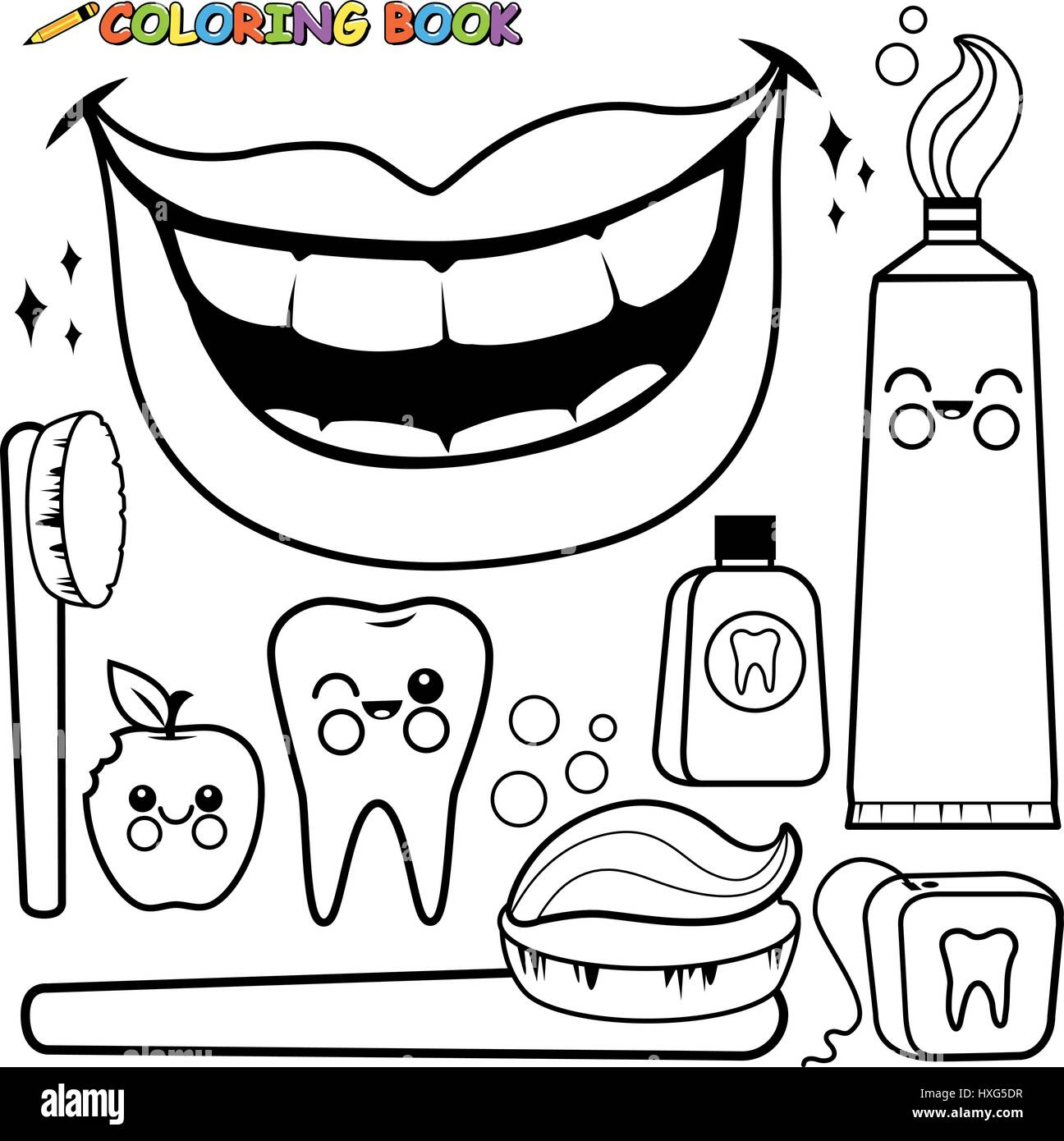 Dental hygiene vector set. Black and white coloring page Stock ...