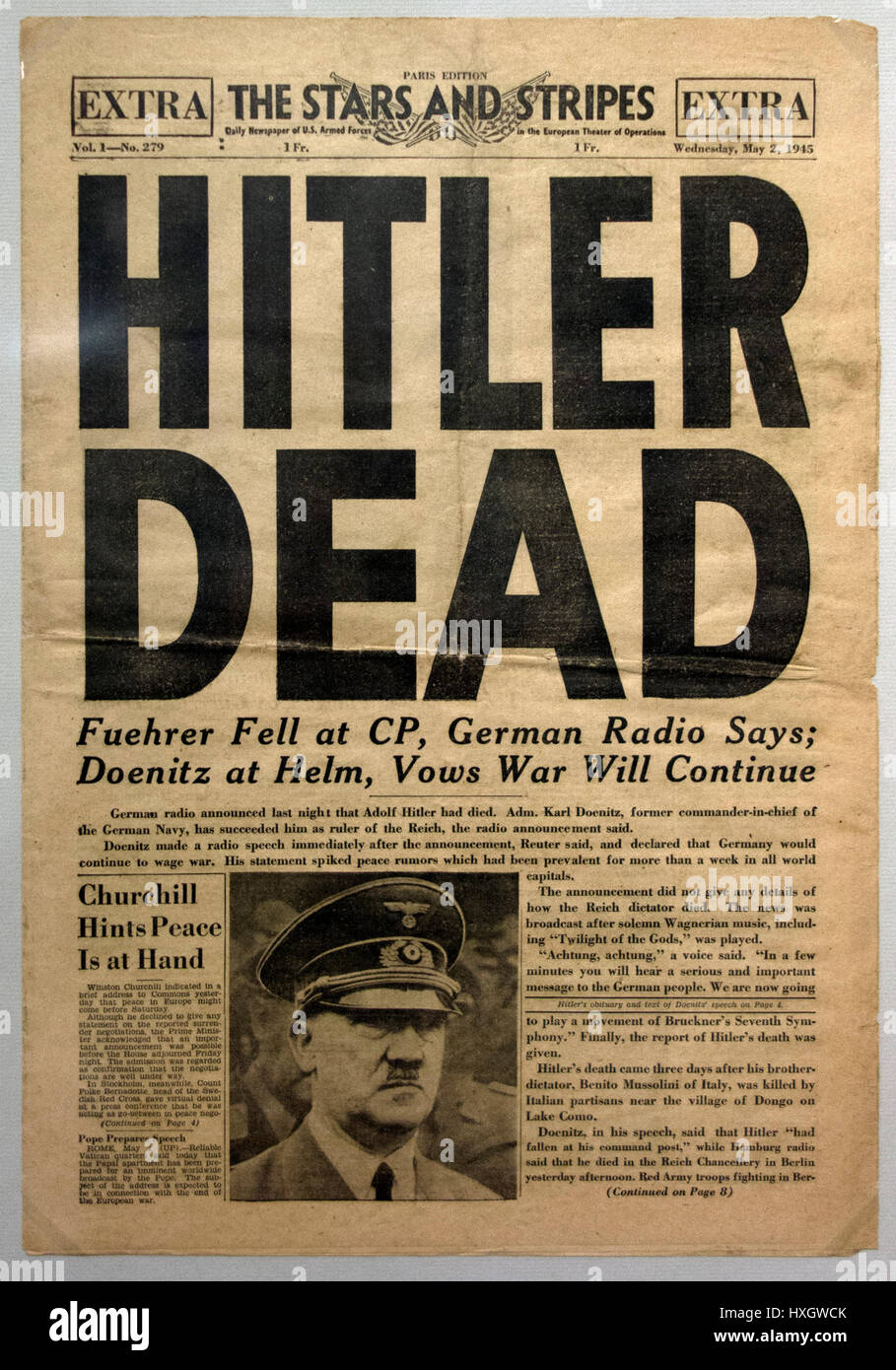Hitler Dead Newspaper - Special edition of the US soldiers' newspaper The Stars and Stripes on the death of Adolf Stock Photo