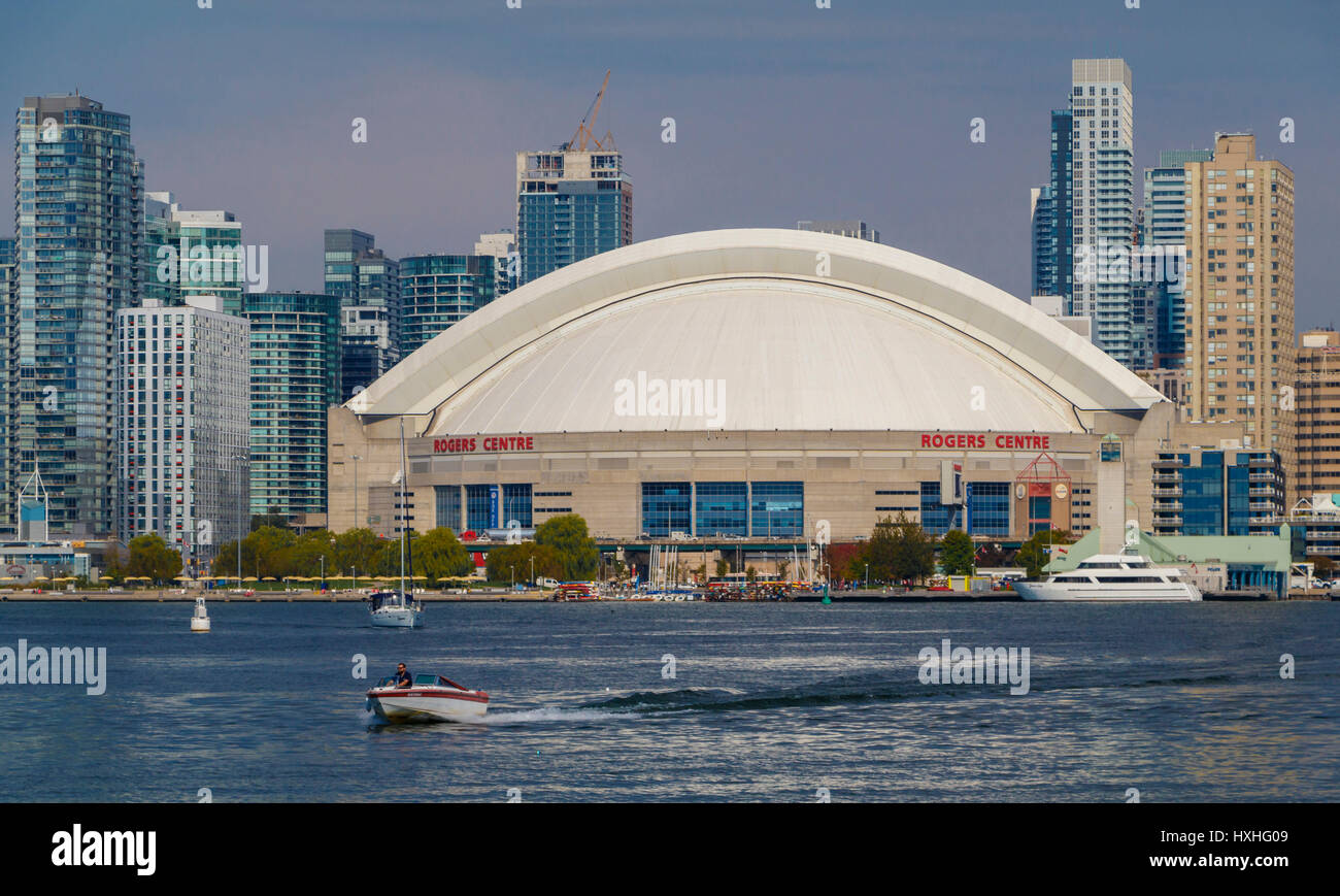 The Rogers Centre at Queens Quay on Lake Ontario, Toronto, Ontario, Canada. - Stock Image
