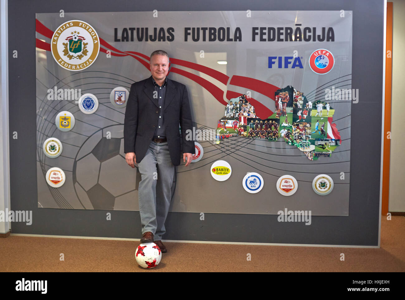 Riga, Latvia. 18th Mar, 2017. Oliver Schlegl, the the CEO of the Latvian soccer premier league (Virsliga), in the - Stock Image