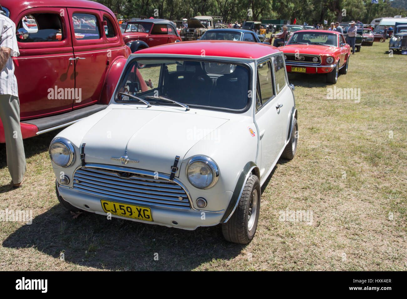 White and Red Morris Cooper S. - Stock Image