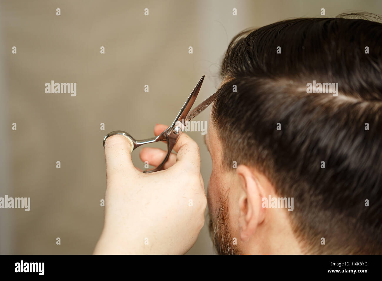 Professional Hairdresser Doing Haircut Mens Hair Haircut With