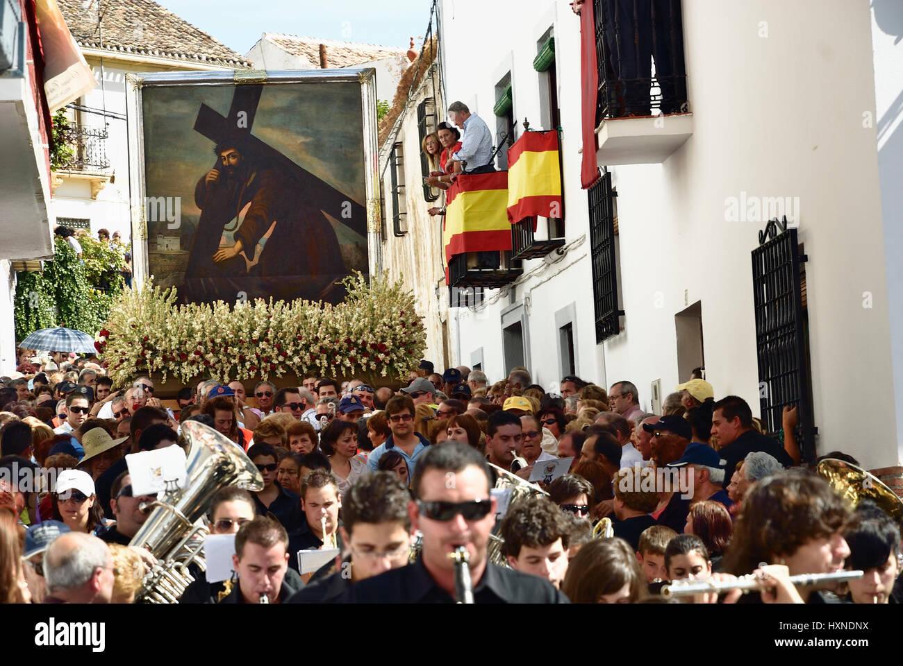 Processión of the Cristo del Paño, inspired Lorca to write Yerma. Moclín, Granada, Andalucía, - Stock Image