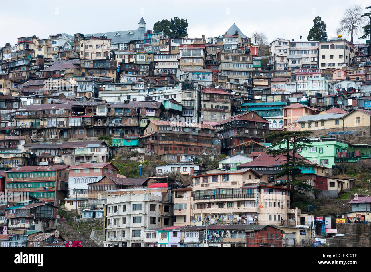 crowded housing on the hillside in shimla himachal pradesh india