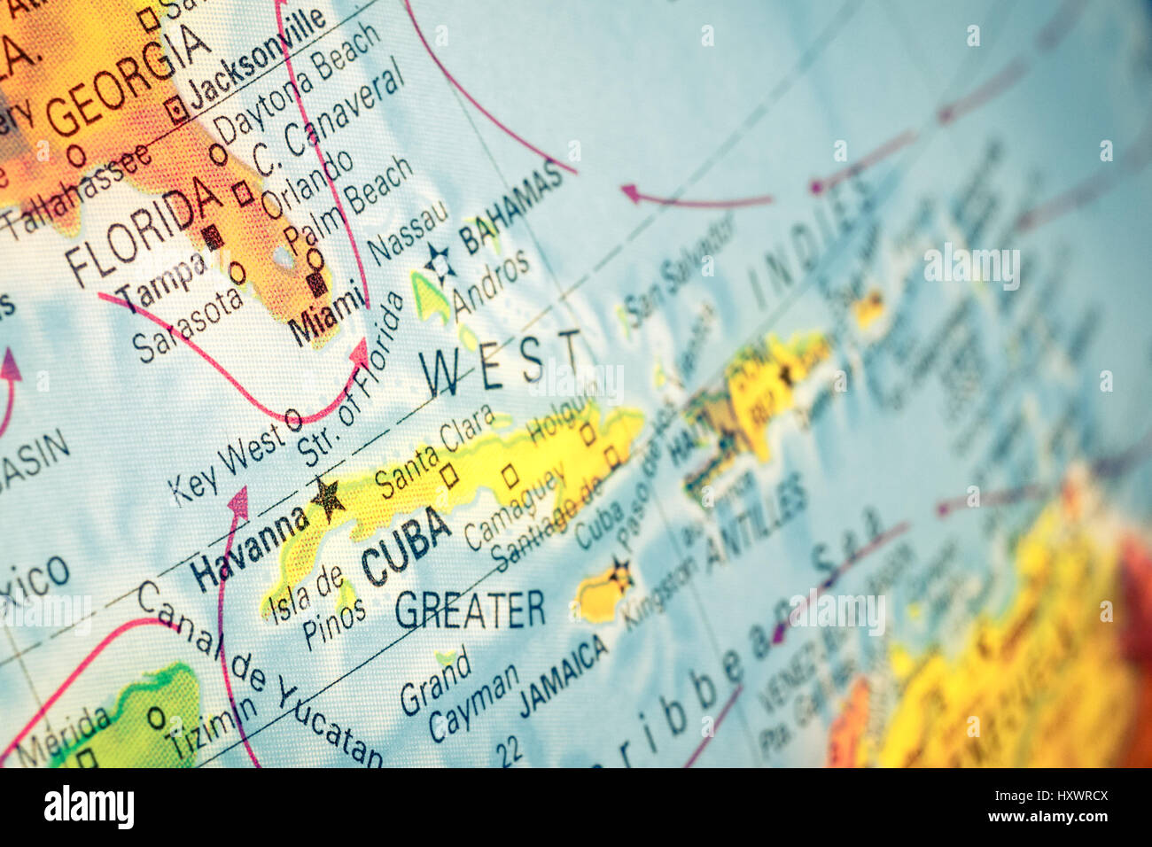 Map cuba and florida close up macro image of cuban map selective map cuba and florida close up macro image of cuban map selective focus gumiabroncs Image collections