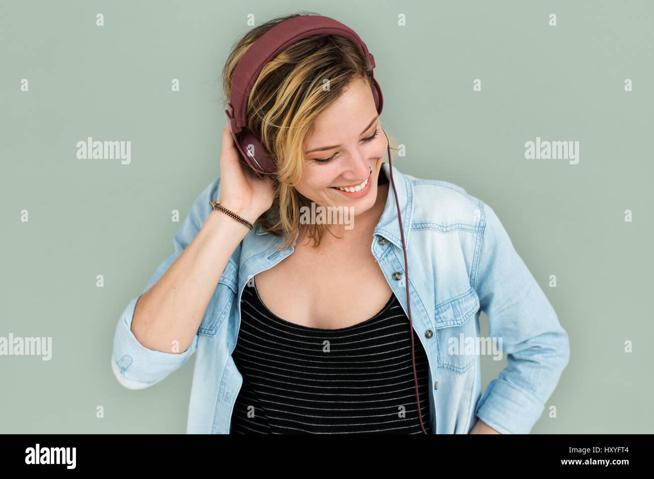Caucasian Lady Embarassed Studio Concept - Stock Image
