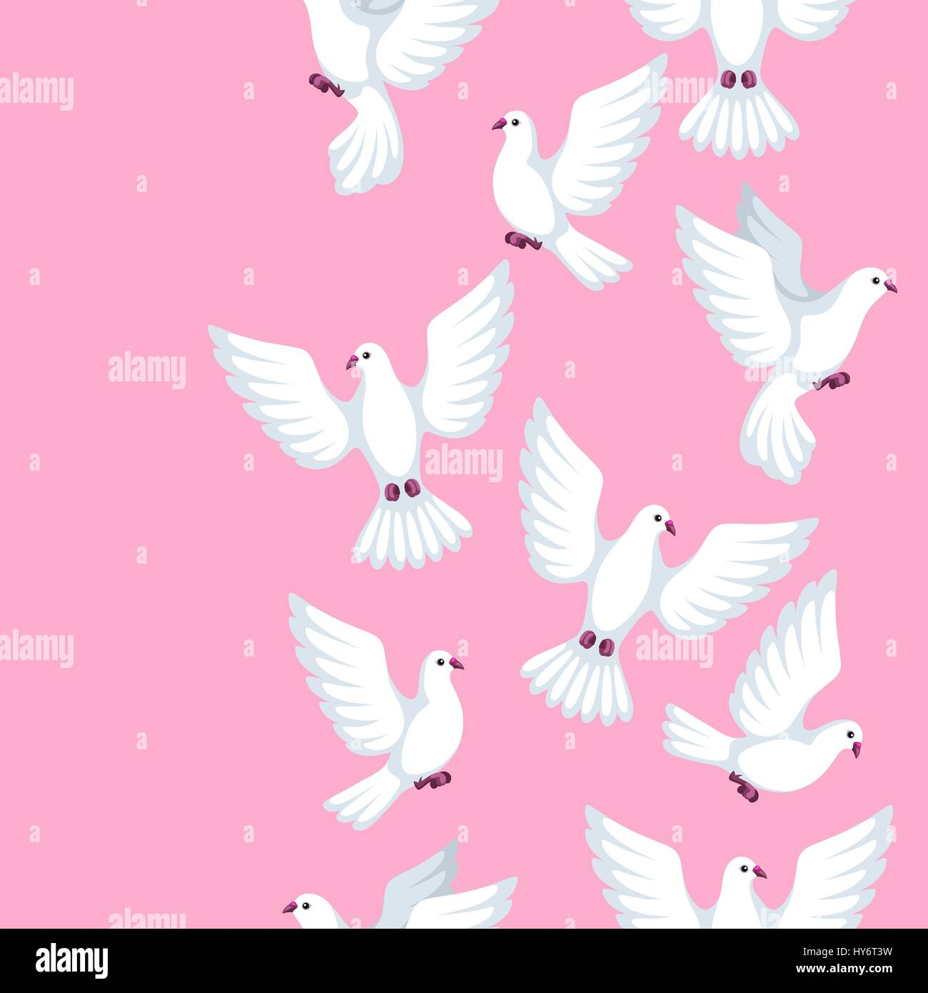 Seamless pattern with white doves. Beautiful pigeons faith and love ...