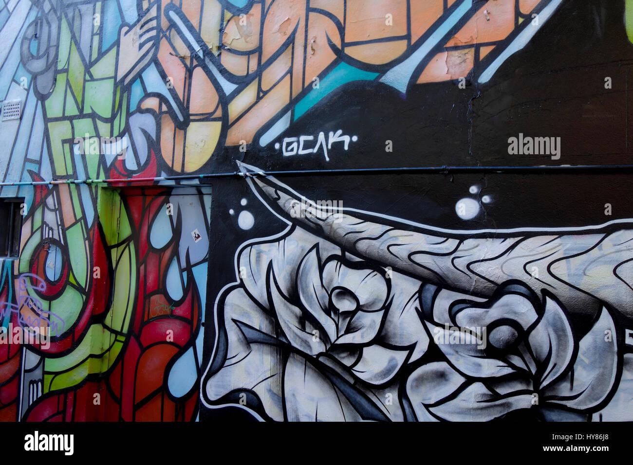 Graffiti and street art in brick lane east london uk