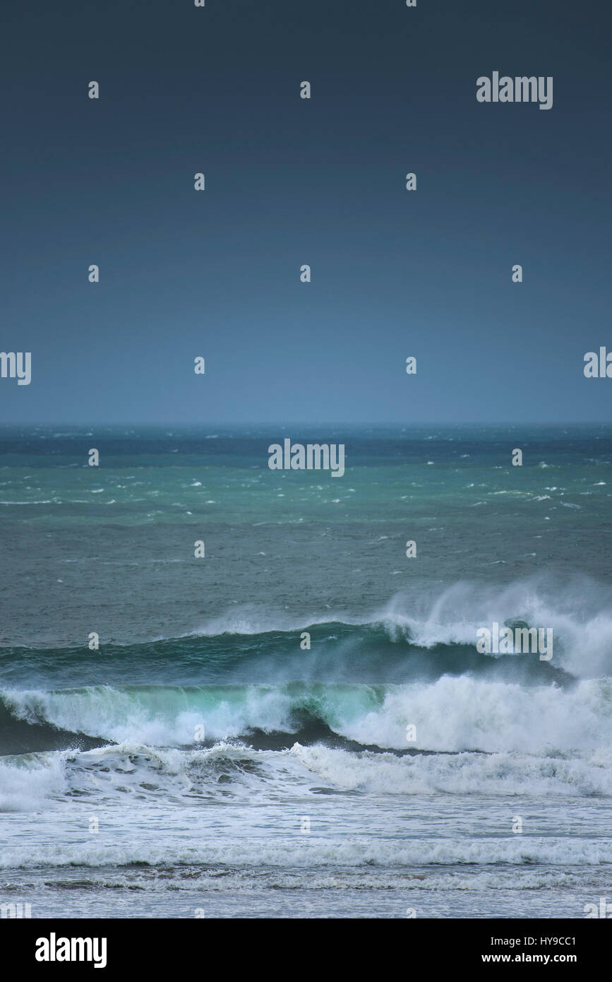 Sea Waves Surf Rough Windy Stormy Spray Atmospheric Fistral Cornwall - Stock Image