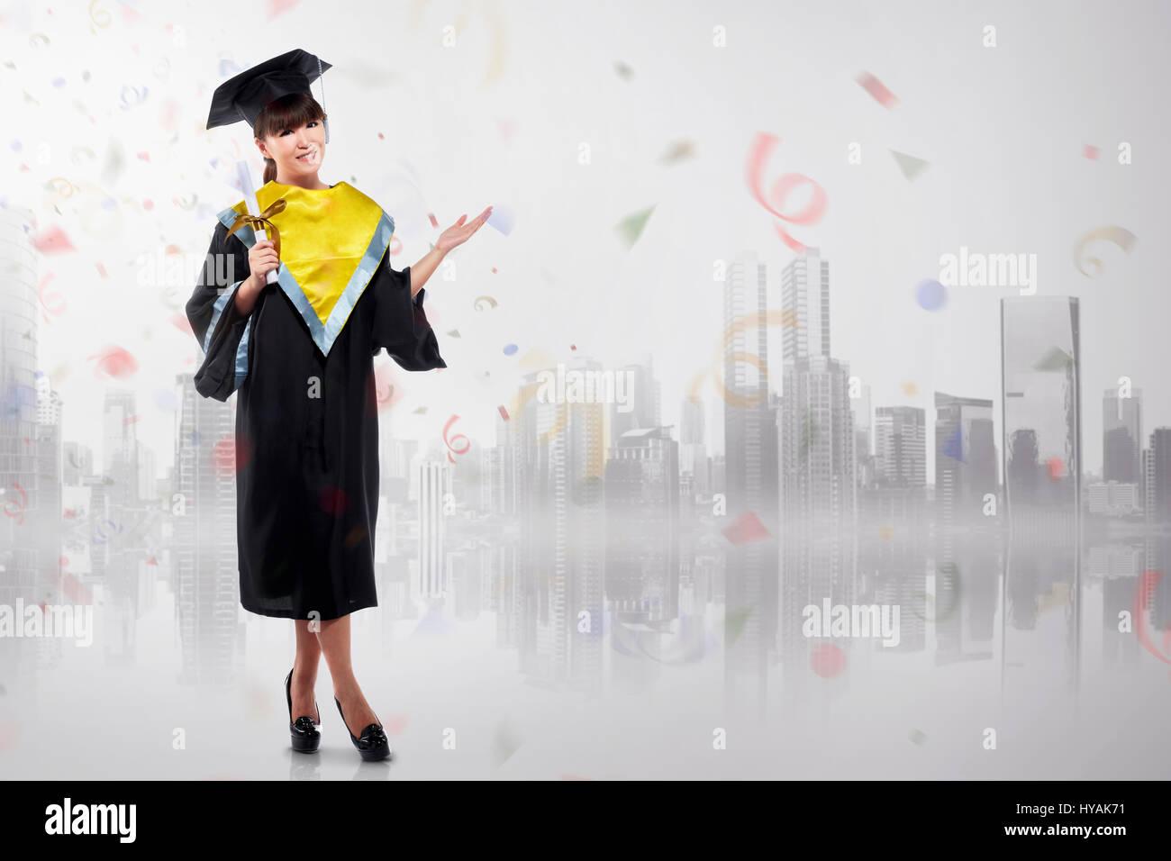 Cheerful Asian Woman Celebrating Graduation With Graduation Cap Dan