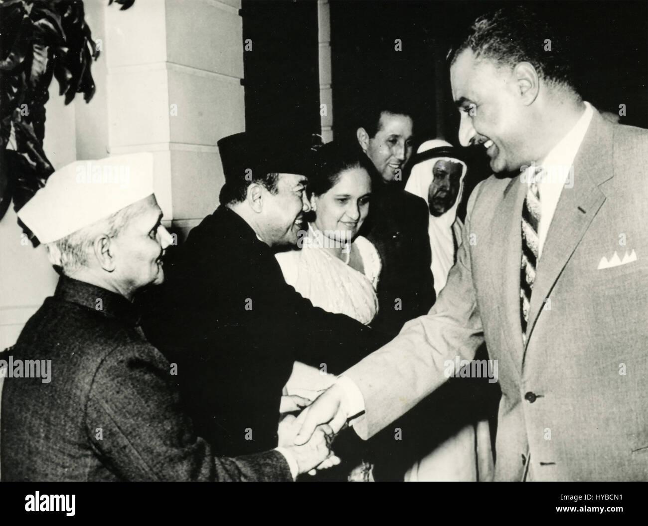 Egyptian president Gamal Abdel Nasser shake hands, Egypt - Stock Image