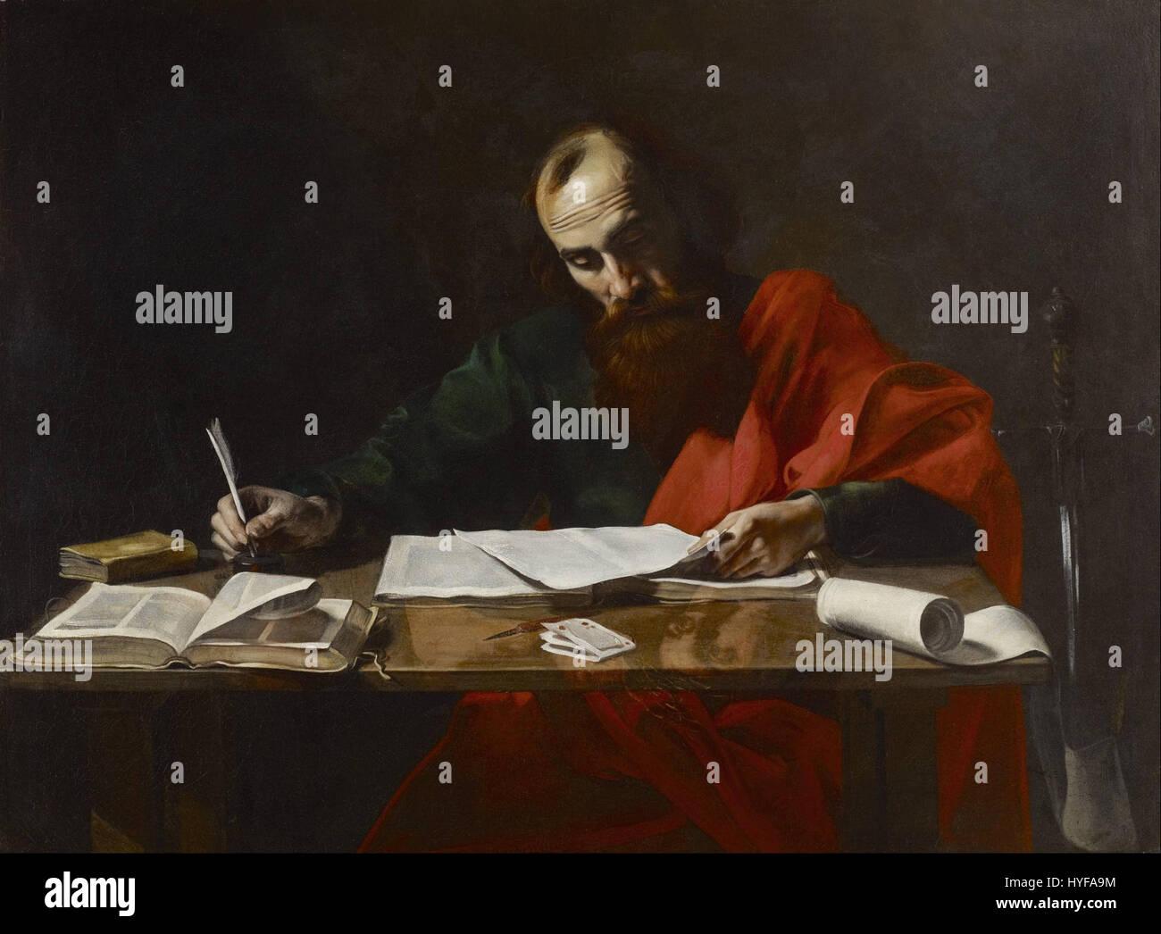 Probably Valentin de Boulogne   Saint Paul Writing His Epistles   Google Art Project - Stock Image