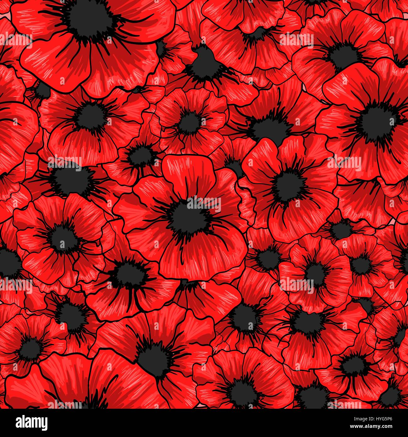 Red Poppy Flower Seamless Pattern For Fabric Textile Design Stock
