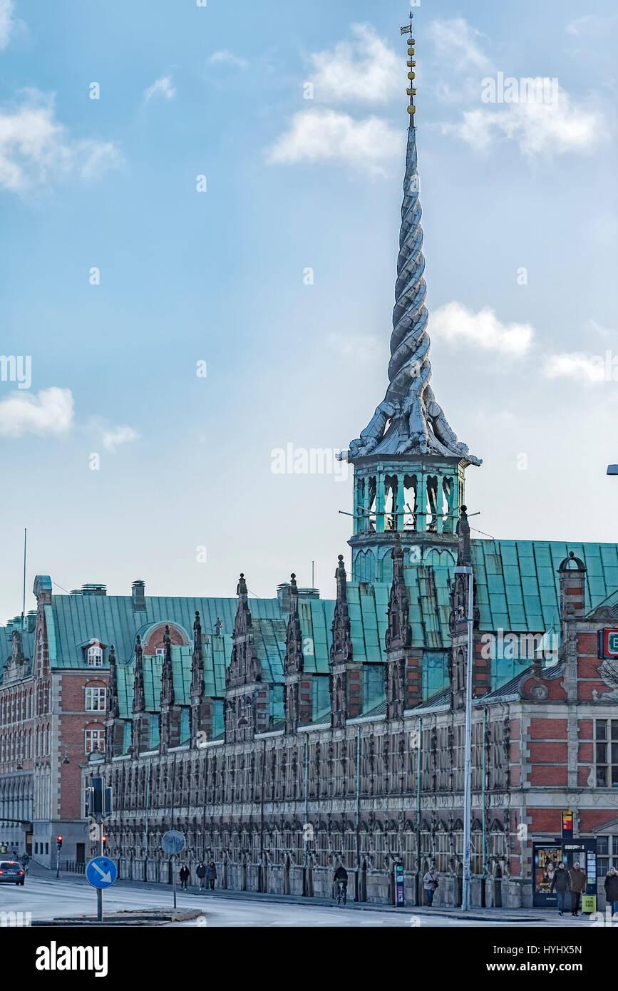 COPENHAGEN, DENMARK - DECEMBER, 24, 2016: Borsen is a building in central Copenhagen and is the oldest stock exchange - Stock Image