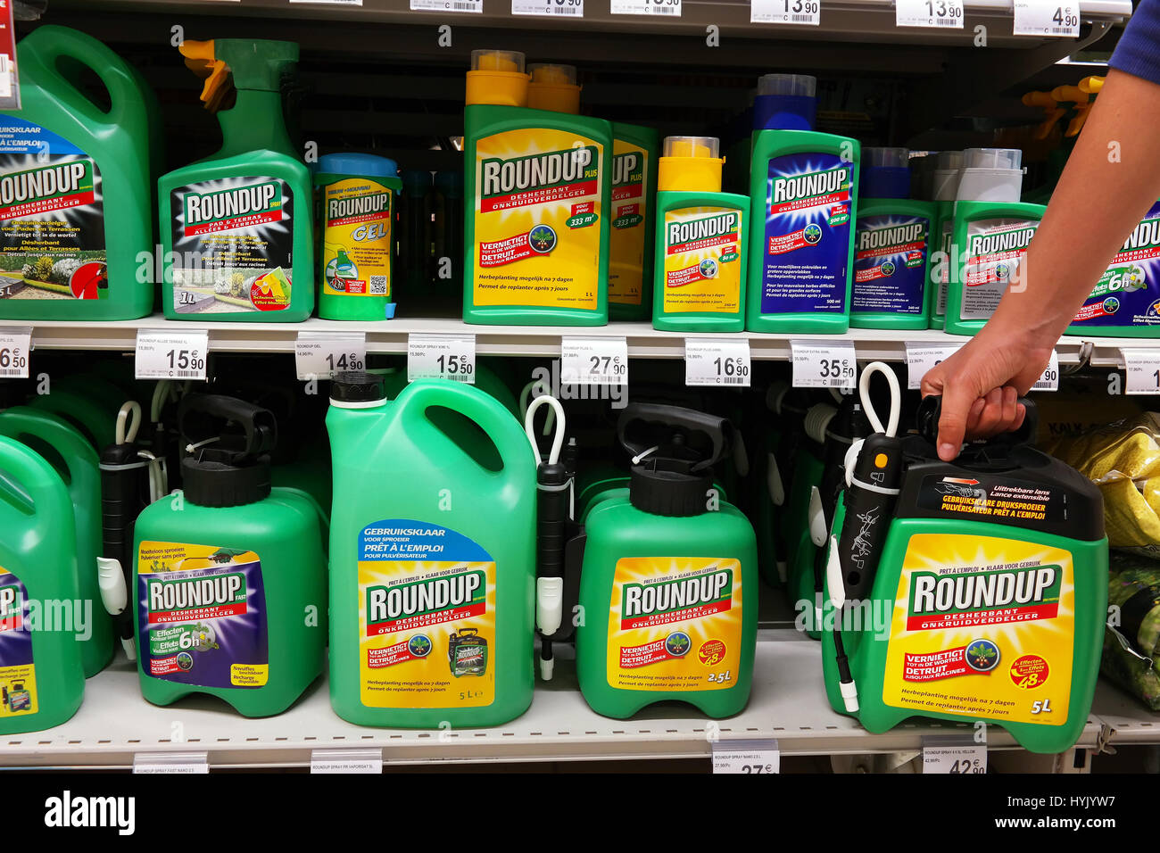 Roundup Weedkillers in Supermarket Stock Photo