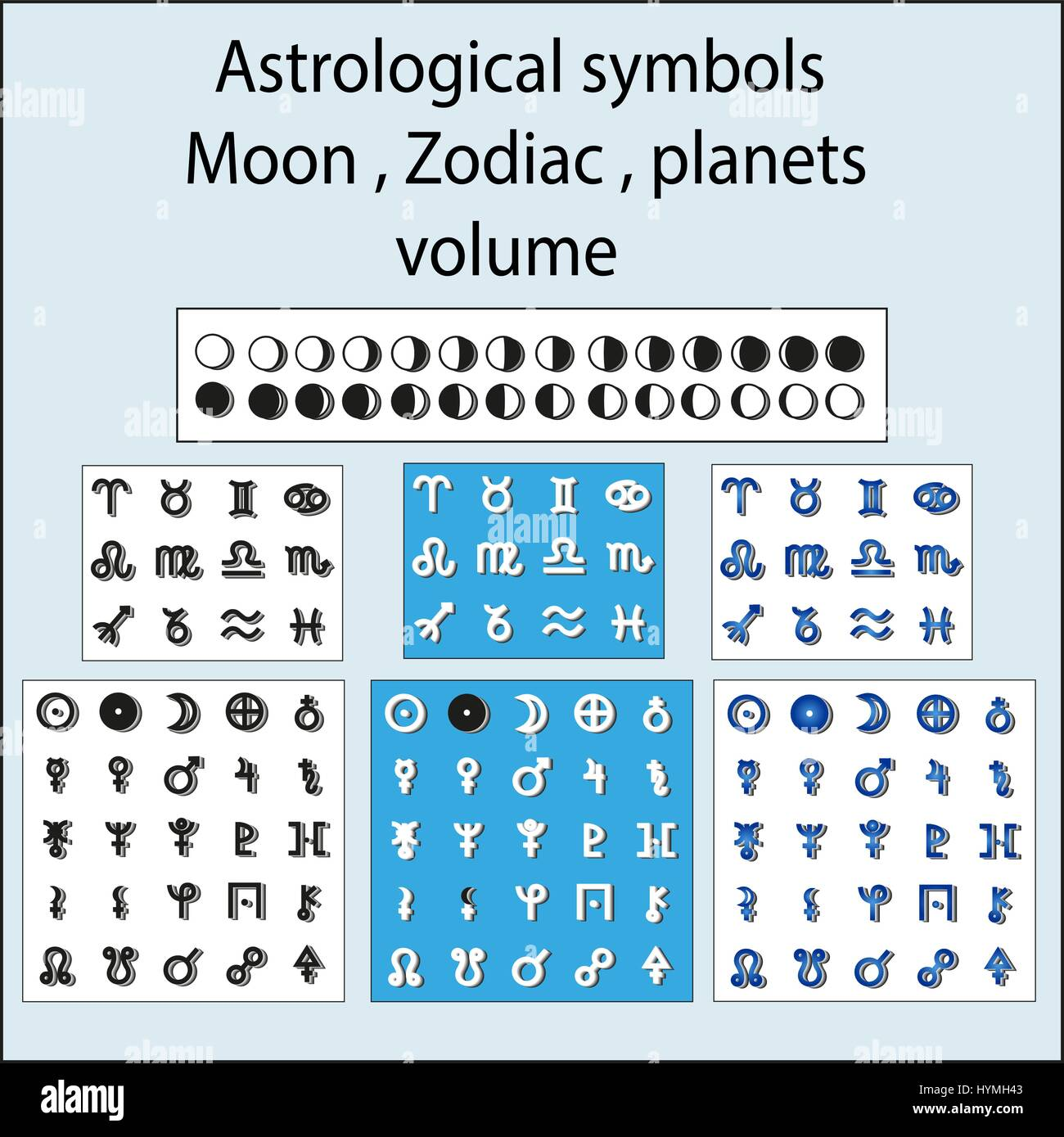 Volume Astrological Symbols Of The Moon The Planets The Zodiac