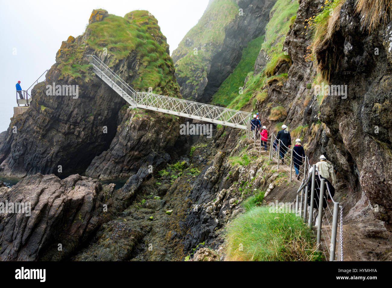 The Gobbins Cliff Path, near Islandmagee, County Antrim, Northern Ireland, UK Stock Photo