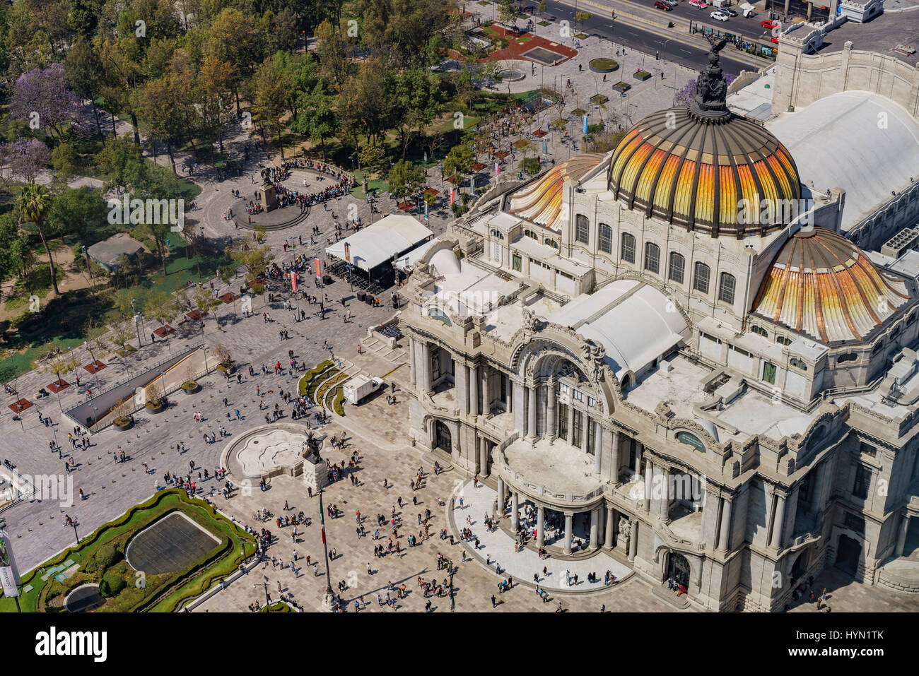 Aerial view of the Palace of Fine Arts with Central Alameda Park of Mexico City - Stock Image