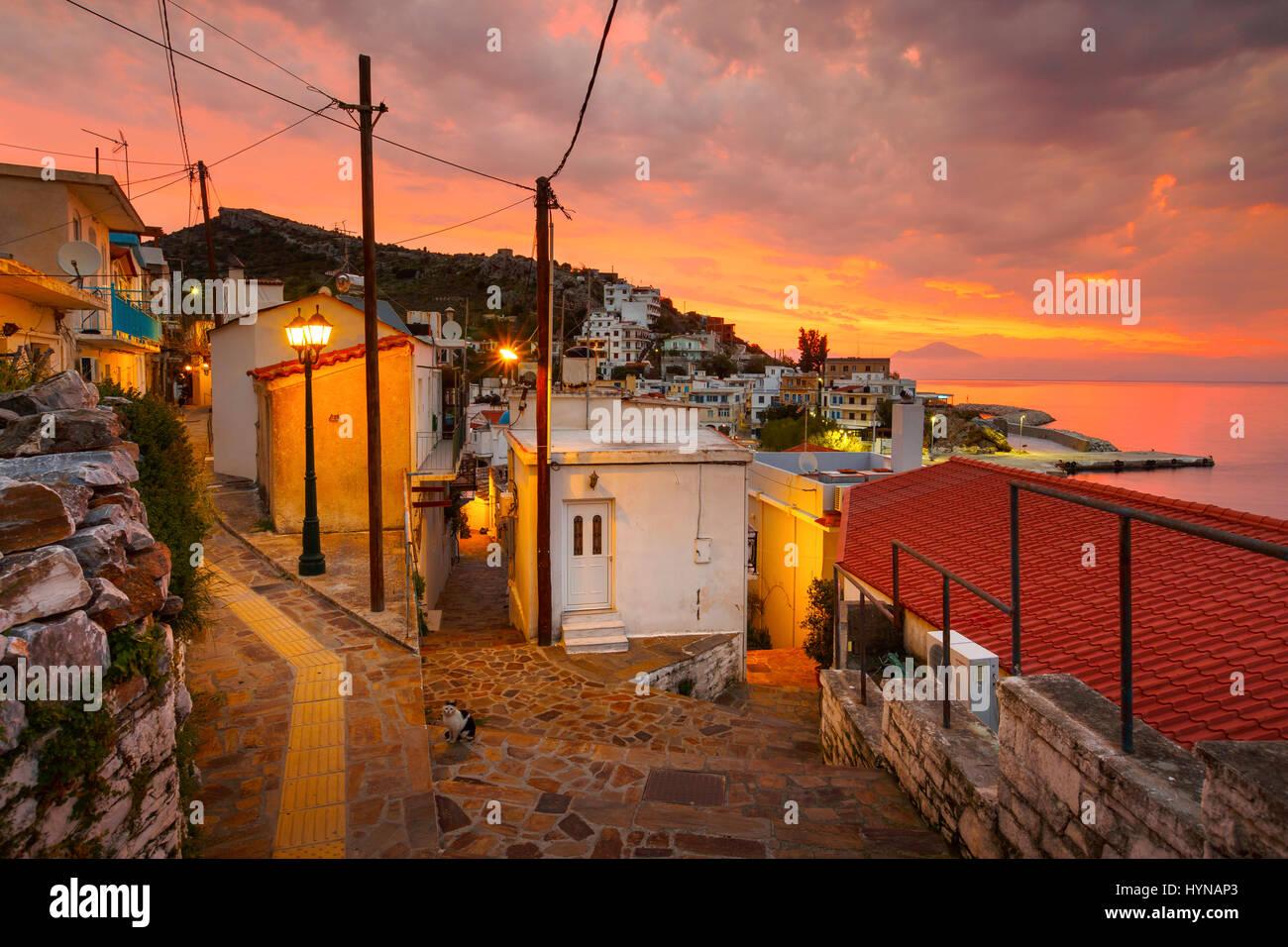 Agios Kirikos village on Ikaria island in Greece. - Stock Image