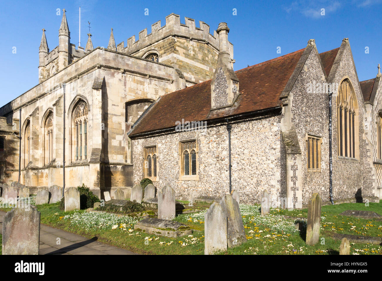 Springtime at Saint Michael's Church, Basingstoke Stock Photo