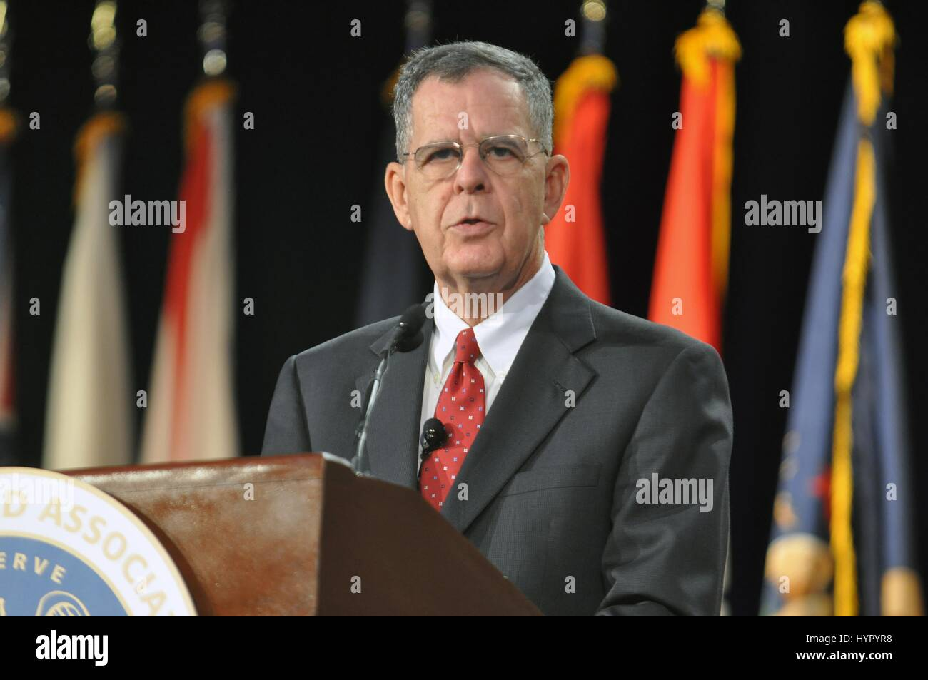 U.S. Reserve Affairs Assistant Secretary of Defense Dennis McCarthy speaks during the 131st Guard Association of - Stock Image