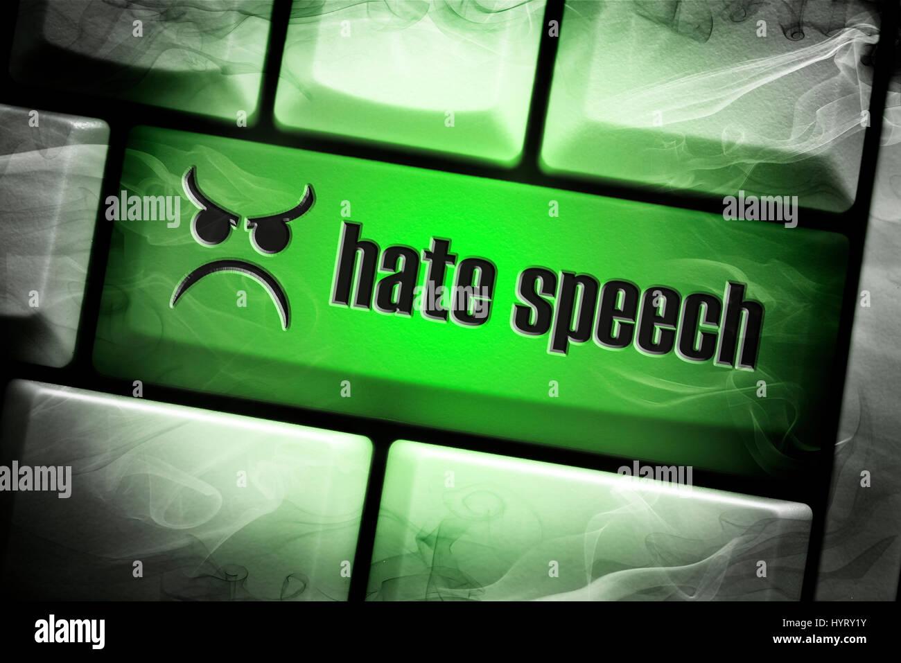 Hate speech key on computer keyboard - Stock Image