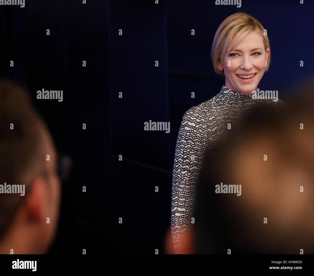 New York City, USA. 26th Apr, 2017. Cate Blanchett attends the Tribeca Film Festival screening of Manifesto on April - Stock Image