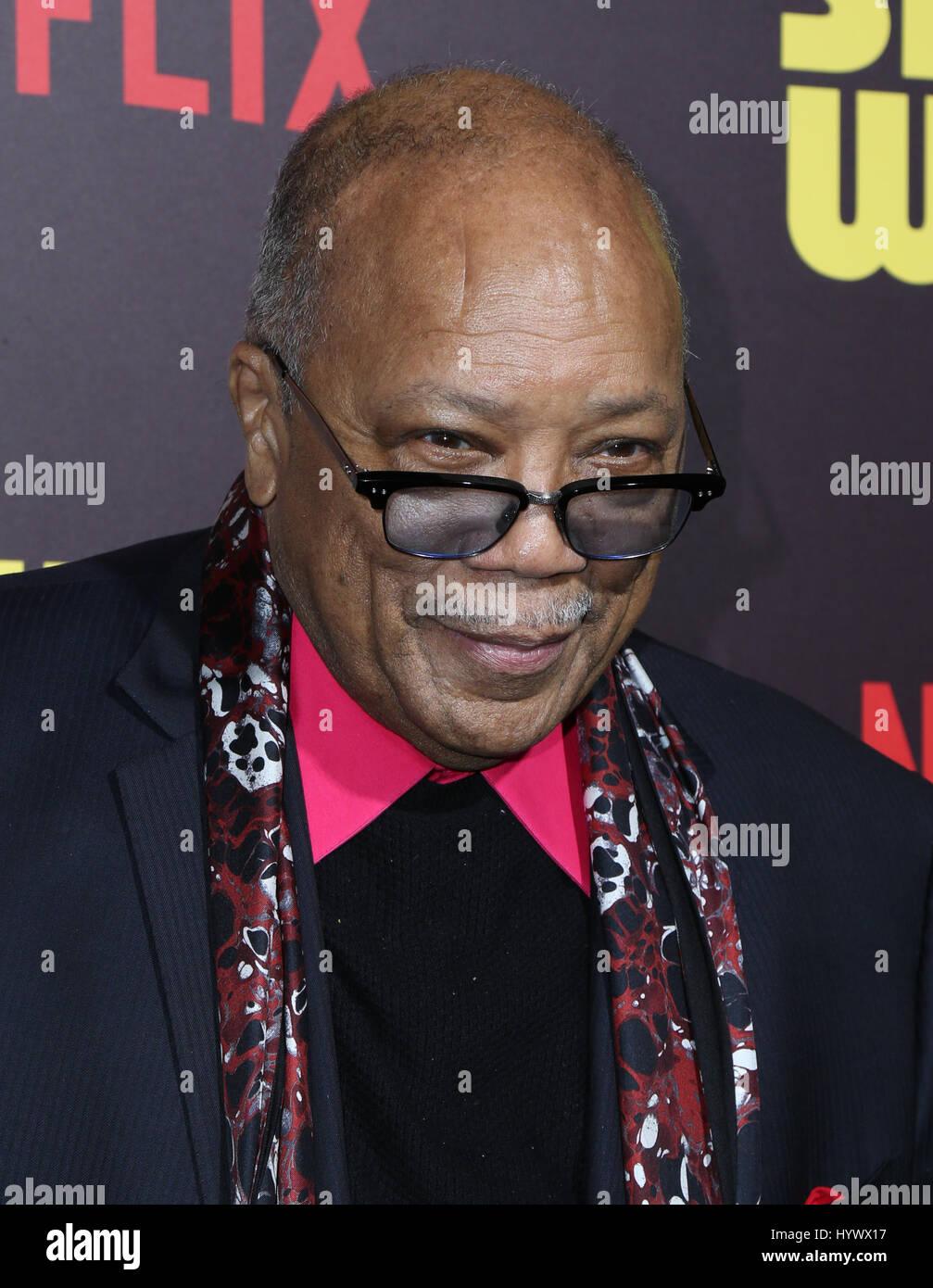Los Angeles, USA. 6th Apr, 2017. Quincy Jones, the premiere of Netflix's 'Sandy Wexler'. Photo Credit: - Stock Image